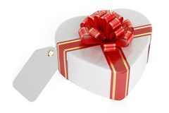 Valentine`s Day concept. Gift box in the shape of heart with bla. Nk tag, 3D rendering on white background Royalty Free Stock Images