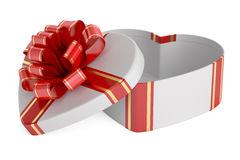 Valentine`s Day concept. Gift box in the shape of heart, 3D rend. Ering on white background Stock Photo