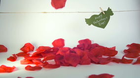Valentine`s day concept. Green paper heart with wings and congratulation fixed with clothespin on a cord and red petals. Falling stock video