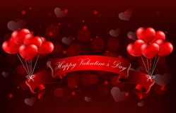 Valentine's Day Concept of heart with realistic red ribbon Stock Images