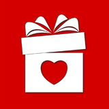 Valentine`s day concept illustration with gift box and heart symbol. Vector icon Stock Photo