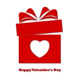 Valentine`s day concept illustration with gift box and heart symbol. Vector icon Stock Photography