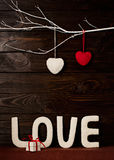 Valentine`s day concept. Letters LOVE and hearts made of yarn on royalty free stock photos