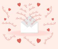 Valentine`s day concept: love lettering flies out of the envelope on a pink background surrounded by original hearts in polka dots stock illustration