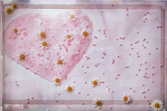 Valentine`s Day concept, pink abstract hand-drawn watercolor heart, decorated with beads and fresh chamomile. Imitation Stock Images