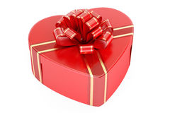 Valentine`s Day concept. Red gift box in the shape of heart, 3D. Rendering on white background Stock Images