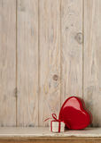 Valentine`s day concept. Red metal box in heart shape on a light stock images