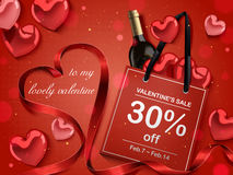 Valentine`s day concept. Red paper bag with wine bottle and heart shaped decorations  on red background, 3d illustration Royalty Free Stock Photography