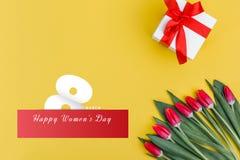 Valentine`s Day background. Beautiful fresh tulips. stock photography