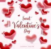 Valentine s day concept. Vector illustration. 3d colorful hearts with thin square frame. Cute love banner or greeting. Card. Place for your text Stock Images