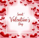Valentine s day concept. Vector illustration. 3d colorful hearts with thin square frame. Cute love banner or greeting. Card. Place for your text Royalty Free Stock Images