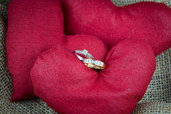 Valentine's day concept, wedding rings hearts Stock Images