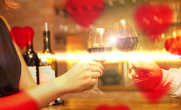 Valentine's Day concept with wine and glasses Royalty Free Stock Photos
