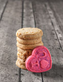 Valentine's day cookie on a wooden bench. Valentine's day cookies on a wooden bench Stock Images