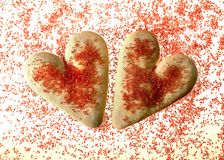 Valentine's day cookies. With red sugar on lightbox Stock Image