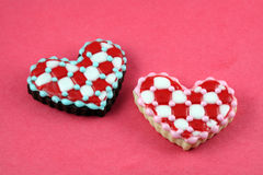 Valentine's Day Cookies. Heart cookies on a red background Royalty Free Stock Photography