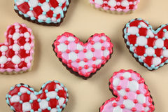 Valentine's Day Cookies. Heart cookies on a red background royalty free stock images