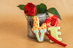Valentine's Day cookies as a word love and flower Royalty Free Stock Photo