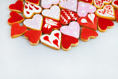 Valentine`s day cookies. Heart shaped cookies for valentine`s day.Red and Pink Heart Shaped Cookies. Valentine`s Day background. R Royalty Free Stock Photography