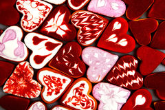 Valentine`s day cookies. Heart shaped cookies for valentine`s day.Red and Pink Heart Shaped Cookies. Valentine`s Day background. R Stock Images