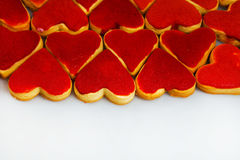Valentine`s day cookies. Heart shaped cookies for valentine`s day.Red and Pink Heart Shaped Cookies. Valentine`s Day background. R Royalty Free Stock Photo