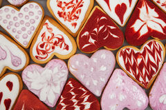 Valentine`s day cookies. Heart shaped cookies for valentine`s day.Red and Pink Heart Shaped Cookies. Valentine`s Day background. R Stock Photo