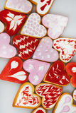 Valentine`s day cookies. Heart shaped cookies for valentine`s day.Red and Pink Heart Shaped Cookies. Valentine`s Day background. R Royalty Free Stock Images