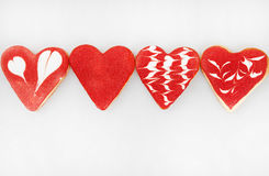 Valentine`s day cookies. Heart shaped cookies for valentine`s day.Red and Pink Heart Shaped Cookies. Valentine`s Day background. R Royalty Free Stock Photos