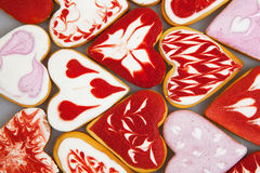 Valentine`s day cookies. Heart shaped cookies for valentine`s day.Red and Pink Heart Shaped Cookies. Valentine`s Day background. R Stock Photos