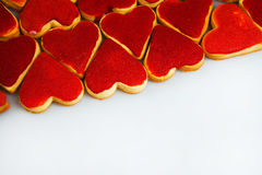 Valentine`s day cookies. Heart shaped cookies for valentine`s day.Red and Pink Heart Shaped Cookies. Valentine`s Day background. R Royalty Free Stock Image
