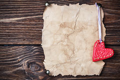 Valentine's Day cookies and old paper Stock Photo