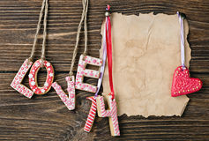 Valentine's Day cookies and old paper Royalty Free Stock Photos