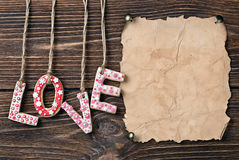 Valentine's Day cookies and old paper Royalty Free Stock Photo