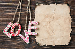 Valentine's Day cookies and old paper Stock Images