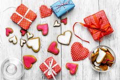 Valentine`s day cookies. Packaging holiday cookies in the shape of hearts for Valentine`s day Stock Image