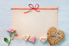 Valentine's Day cookies and space for congratulation Royalty Free Stock Images