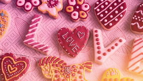 Valentine`s Day cookies. The word `Love` from cookies. Valentine`s Day cookies. Traffic cameras stock video footage