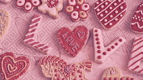 Valentine`s Day cookies. The word `Love` from cookies. Valentine`s Day cookies. Traffic cameras stock footage