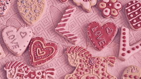 Valentine`s Day cookies. The word `Love` from cookies stock footage