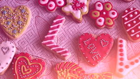 Valentine`s Day cookies. The word `Love` from cookies. Valentine`s Day cookies. Traffic cameras stock video