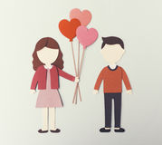 Valentine`s Day Couple Lover Paper Mockup Concept Stock Photo