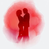 Valentine`s Day couple on watercolour background Stock Photography