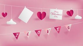 Valentine`s day of craft paper design royalty free illustration