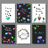 Valentine`s Day creative artistic cards set. Doodle style. Stock Photos
