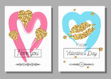 Valentine`s Day creative artistic cards set. Vector illustration. Royalty Free Stock Photo