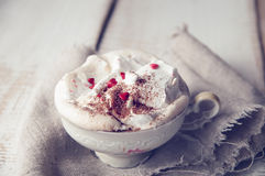 Valentine's day cup of Cappuccino Coffe. Royalty Free Stock Photo