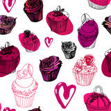 Valentine's day cupcakes seamless pattern Royalty Free Stock Photography
