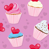 Valentine s Day Cupcakes Seamless. A seamless pattern with St. Valentines or Saint Valentine s Day sweet cupcakes,  on pink background. Useful also as design Stock Photo
