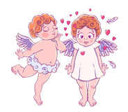 Valentine`s day. Cupid-boy cloud pants blowing kisses and hearts to surprised girl. A pair of angels. Stock Photo