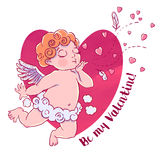 Valentine`s day. Cupid-boy in cloud pants and blowing kisses and hearts. Vector illustration isolated Royalty Free Stock Image